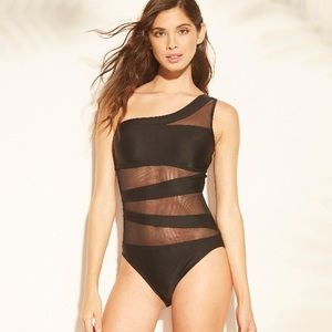 🏖Shade & Shore One Shoulder Mesh Inset Swimsuit